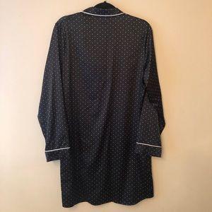 Gilligan & O'Malley Intimates & Sleepwear - Gilligan O'Malley Black Dot Satin Sleep Shirt Sz L